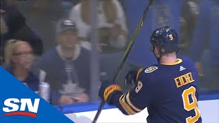 Jack Eichel Appears To Motion To Maple Leafs Fans To Sit Down After Goal