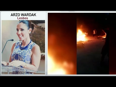 Arzo Wardak on Lesbos refugee camp fire