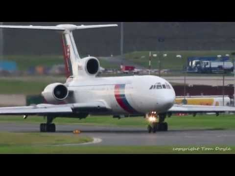 Slovakia Government Tupolev Tu-154M OM-BYO Taxi & take off from Birmingham airport BHX 4th Sept 2015