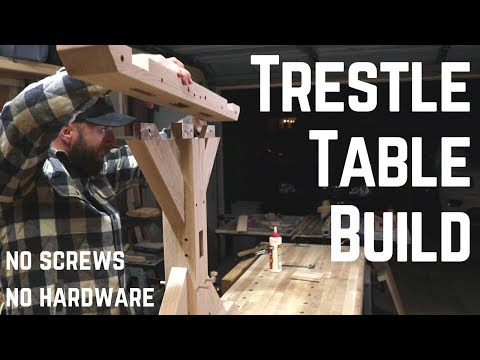 Indestructible Farm House Trestle Table w/ Old School Joinery // Woodworking // How To