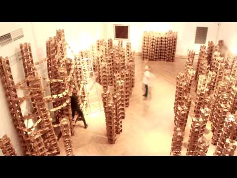 Moscow Museum of Modern Art Installation of Large-Scale Work by Dmitry Teselkin