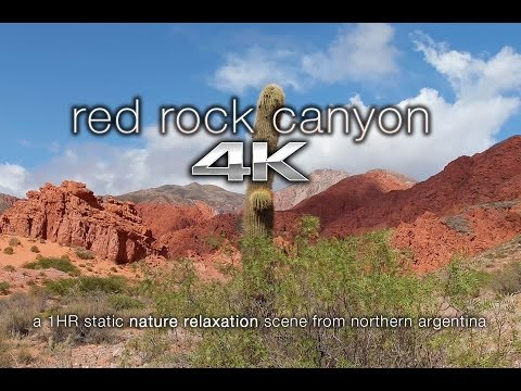 4K Nature Screensaver: Red Rock Canyon Winds, Argentina 1 HR Static Scene