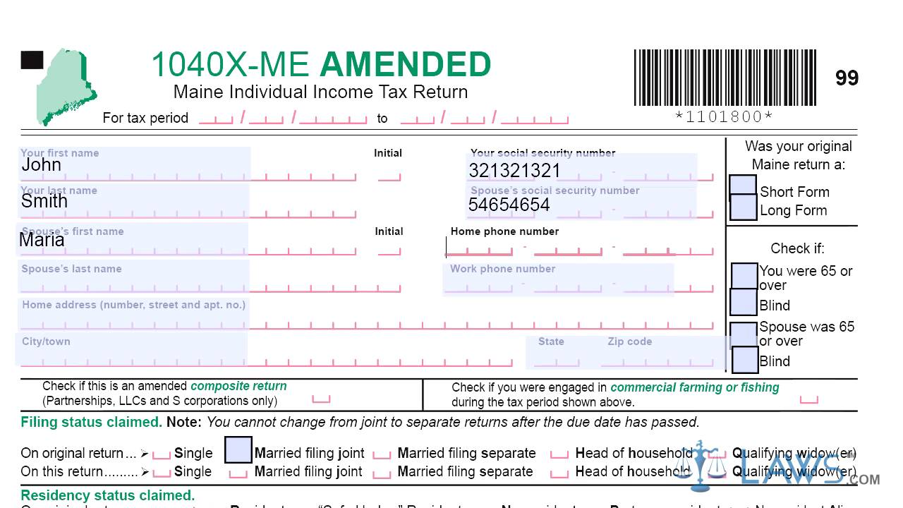 Form 1040X ME Maine Amended Individual Income Tax Return - YouTube