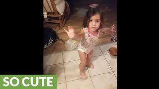 Toddler makes huge mess, freaks out when confronted