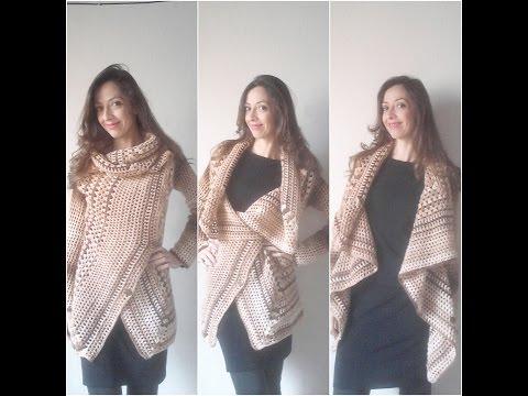 Parte 2 Casaco de Croche 3 em 1 Crochet coat square 3 in 1