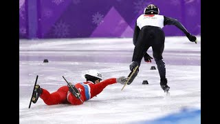 North Korean Speed Skater Tries to Take Down His Japanese Rival After Spectacular Fall