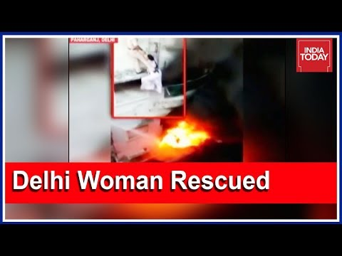 Police Rescue Woman From Burning Building In Delhi, Rescue Caught On Cam