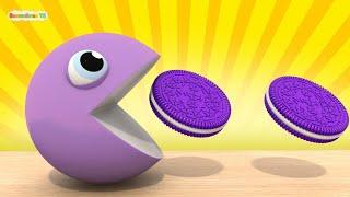 Пакман ест чупик пончик мороженое печенье учим цвета дошкольное образование