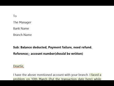 How To Write Application To Bank Manager For Refund Money Payment