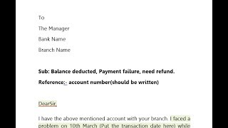 How to write application to bank manager for Refund Money, Payment Failure? || Hindi