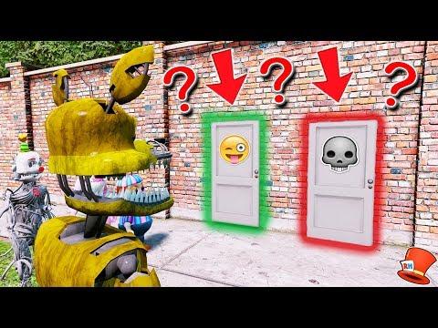 WILL GOLDEN NIGHTMARE FOXY CHOOSE THE LIFE OR DEATH DOOR? (GTA 5 Mods For Kids FNAF RedHatter)