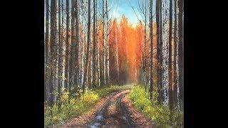 Straße zum Herbst. Acryl auf Leinwand.