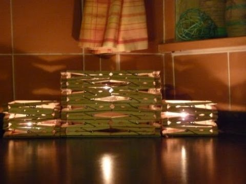 Craft ideas: Candle holder made from wooden pegs tutorial   YouTube