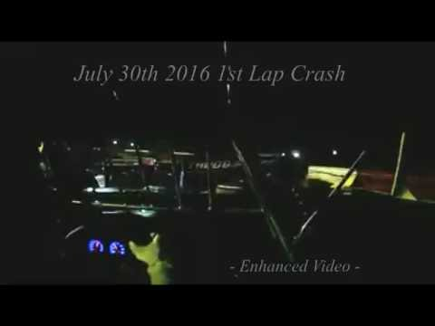 July 30 2016 Jeremy Coffey Racing crashes at Eastside Speedway in Waynesboro, VA