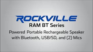 "Rockville RAMBT 12"" and 15"" Rechargable Powered PA Speaker System, 2 Mics, Bluetooth"