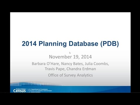 PRB Webinar: Using the ACS for Local Area Planning and Analysis - The 2014 Planning Database