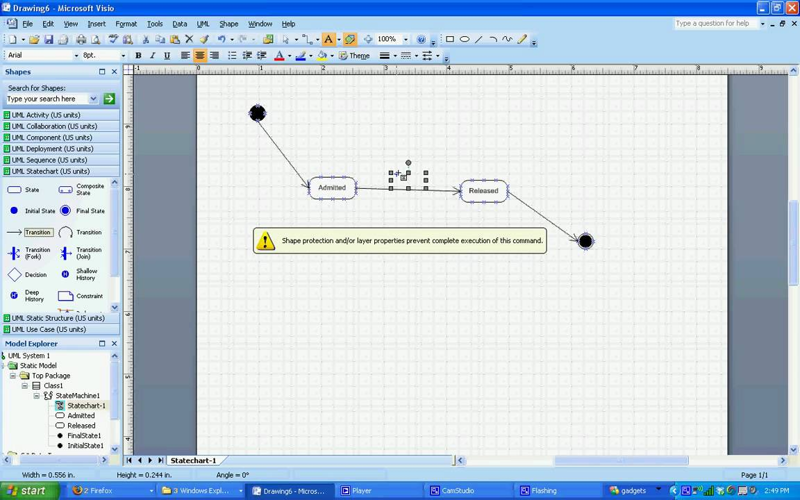 Uml statechart diagram in visio 2007 youtube ccuart Images