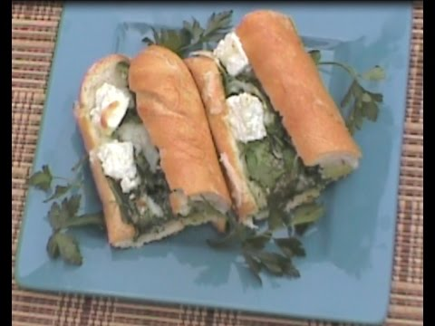 Toasted French Bread Spinach Feta Egg Sandwich