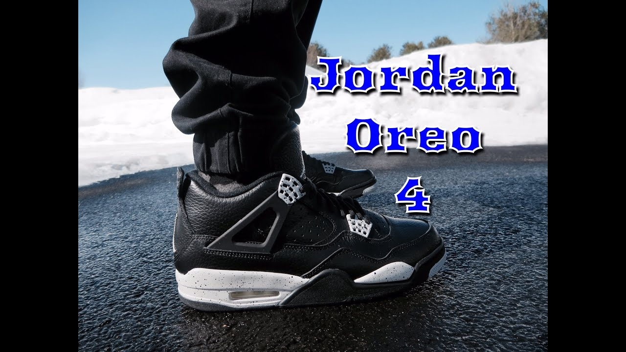 buy online a49fe 3ebd8 AIR JORDAN RETRO 4 OREO ON FEET + FIT!