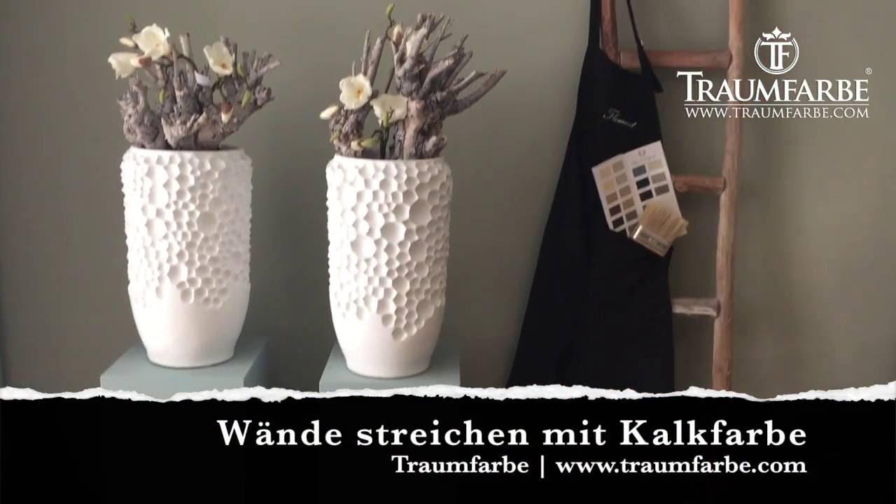 kalkfarbe streichen auf dem wand durch traumfarbe youtube. Black Bedroom Furniture Sets. Home Design Ideas