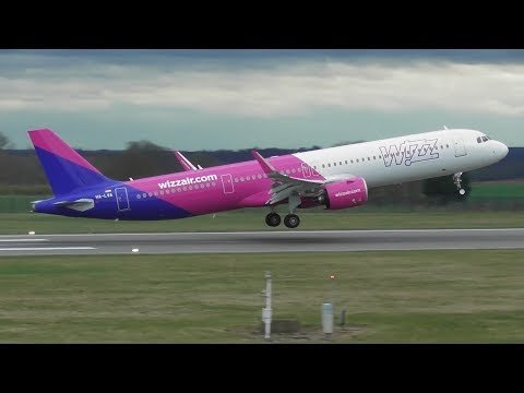 Wizz Air's First Airbus A321 NEO at London Luton Airport | 15-03-19 (includes Water salute)