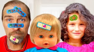 Boo Boo story by Alice and TOYS // Alice and Daddy Pretend Play