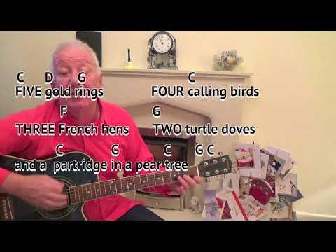 12 Days of Christmas - Christmas Carol - Key C major - guitar lesson on-screen chords and lyrics