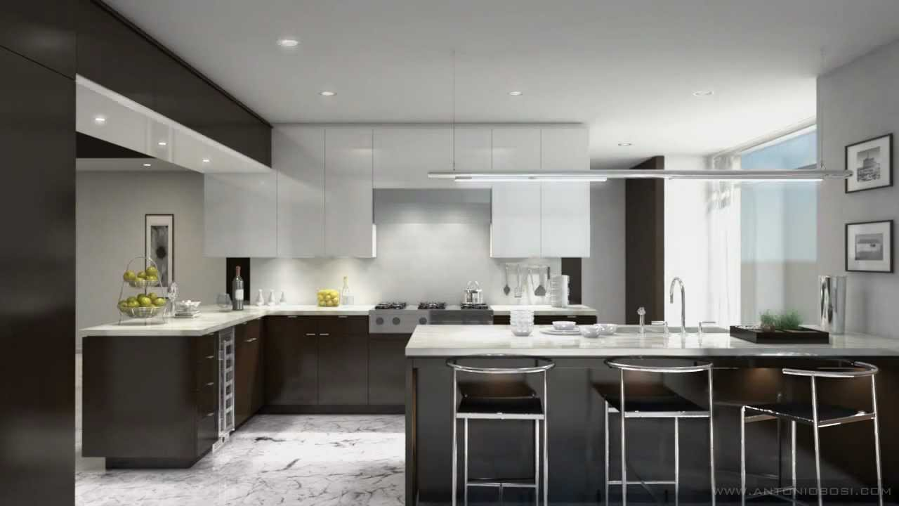 Interactive Multilight Kitchen Render In Mental Ray And