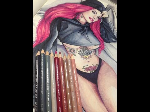 Time lapse drawing-Christy Mack red hair (Prismacolor)