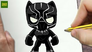 COMO DIBUJAR PANTERA NEGRA KAWAII PASO A PASO - Dibujos kawaii faciles - How to draw a Black Panther