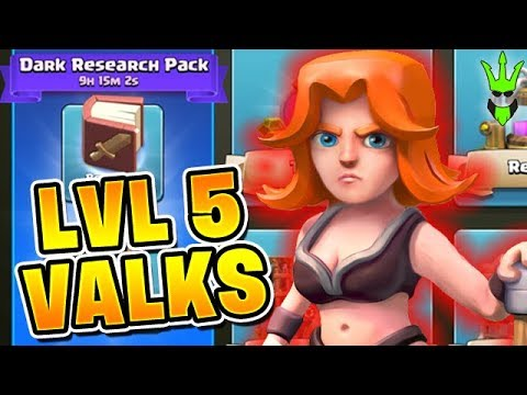LEVEL 5 VALKS with Dark Research Pack! - Preparing for THE FALCON - Clash of Clans - Let's Play TH10