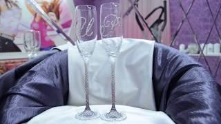Свадебные бокалы в стразах сиреневое омбре с инициалами https://vk.com/club53829666