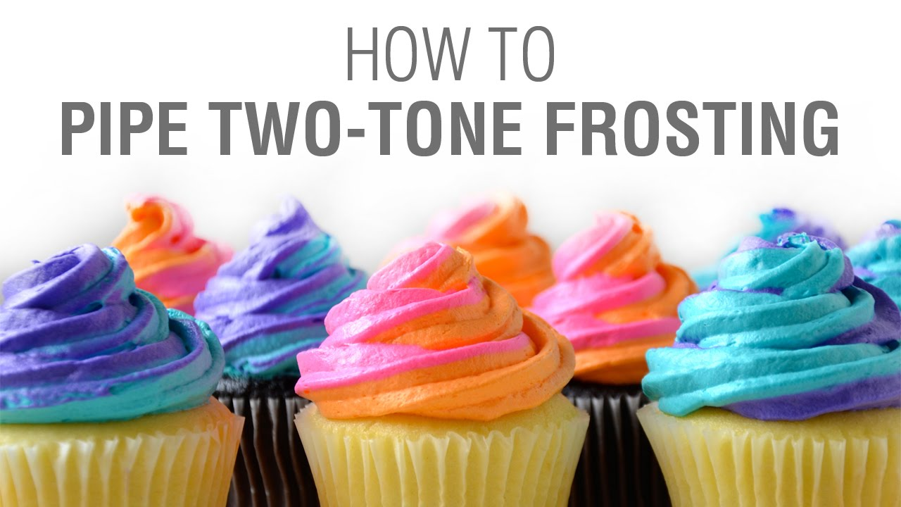 how to pipe two tone swirled frosting youtube