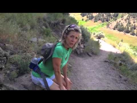 Lisa Ann McCall, physical therapist, shows how to walk downhill safely