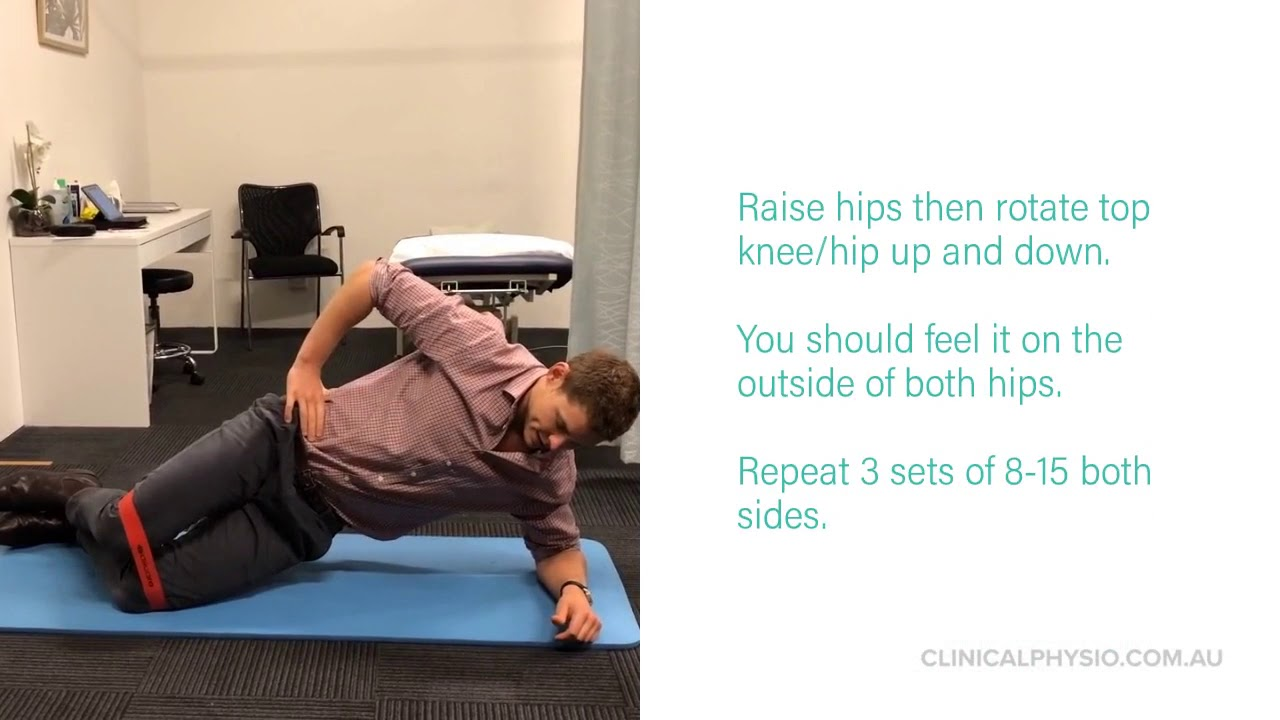 Side Plank with Clam (Gluteus Medius Strength)