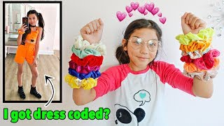 colored scrunchies pick my school outfits for a week | Txunamy