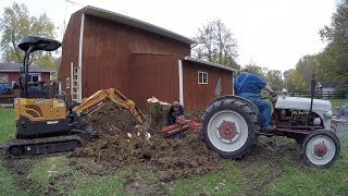 Timber! Saving Brian's Garage: Ford 9N and Case Mini-Excavator Remove Leaning Tree