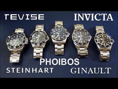 """Rolex Sub Homage Across 5 """"Tiers"""" - Tevise, Invicta, Phoibos, Steinhart & Ginault - Perth WAtch #119"""