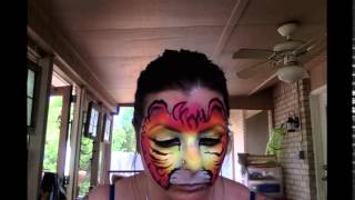 Kitty tiger hybrid face paint by Epic Body Paint