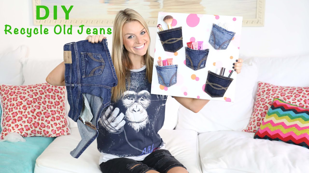 Diy Recycle Old Jeans To Make A Denim Pocket Wall