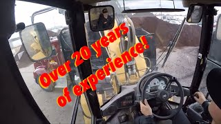 Skilled loader operator cab view