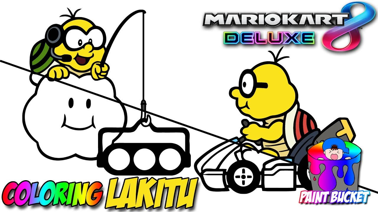 Mario Kart 8 Deluxe Nintendo Switch Super Mario Lakitu Coloring Games For Kids