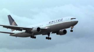 United Boeing 767-300 N644UA Landing London Heathrow 27R