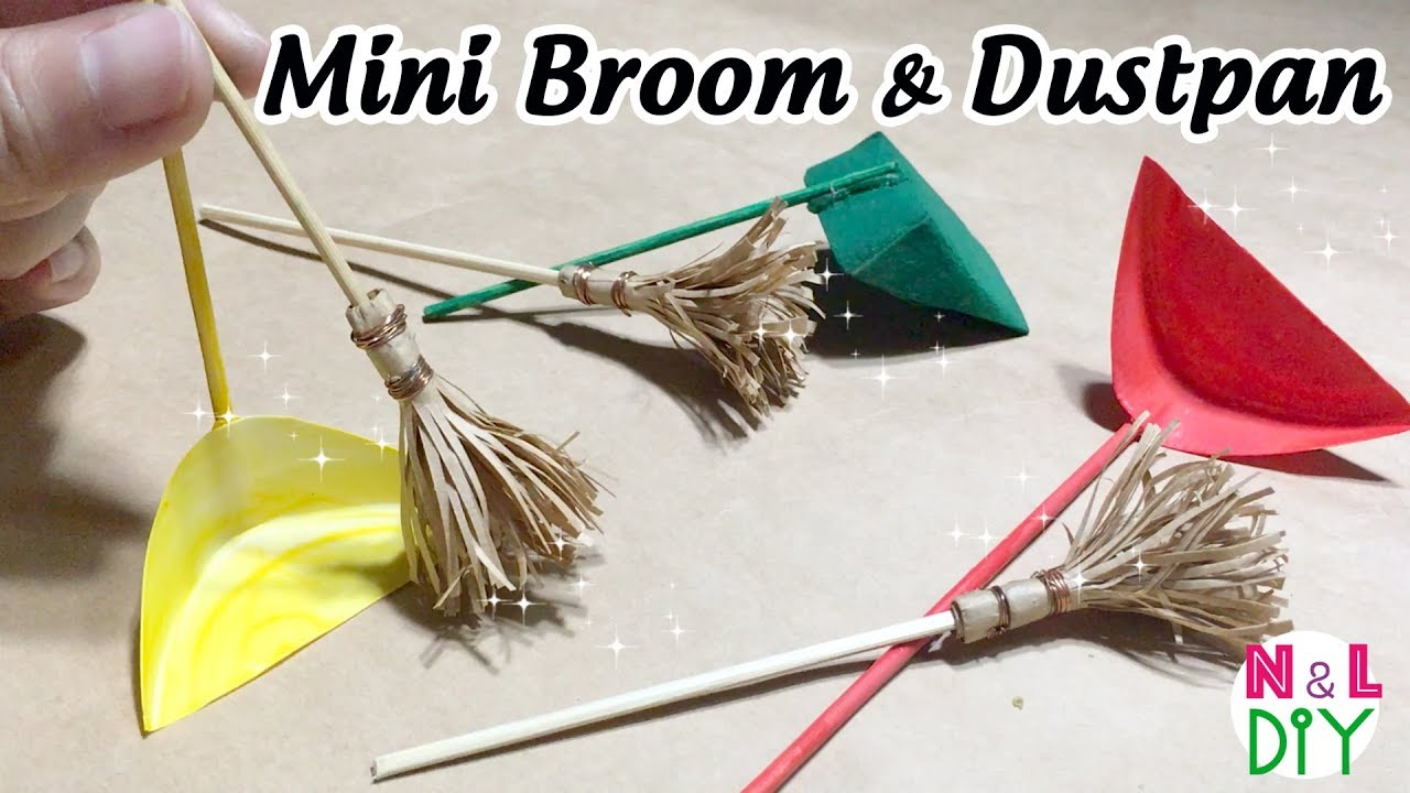 DIY Miniature Broom & Dustpan for Dollhouse | How to make ...