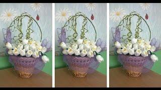 Искусственные цветы своими руками  Как сделать подснежники из гофрированной бумаги