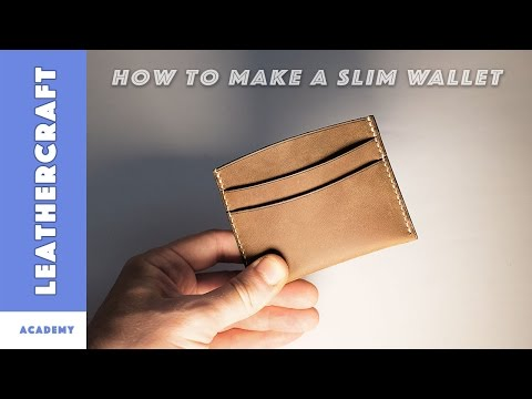 How to make a slim wallet/card holder in leather/leather craft tutorial