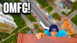 TOP 5 VIDEOS THAT WILL MAKE YOUR PALMS SWEAT! (HANGING FROM CRANE, SKATEBOARD NEAR EDGE & MORE)