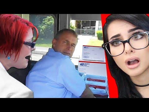 CRAZY GIRL THINKS MAILMAN IS STALKING HER