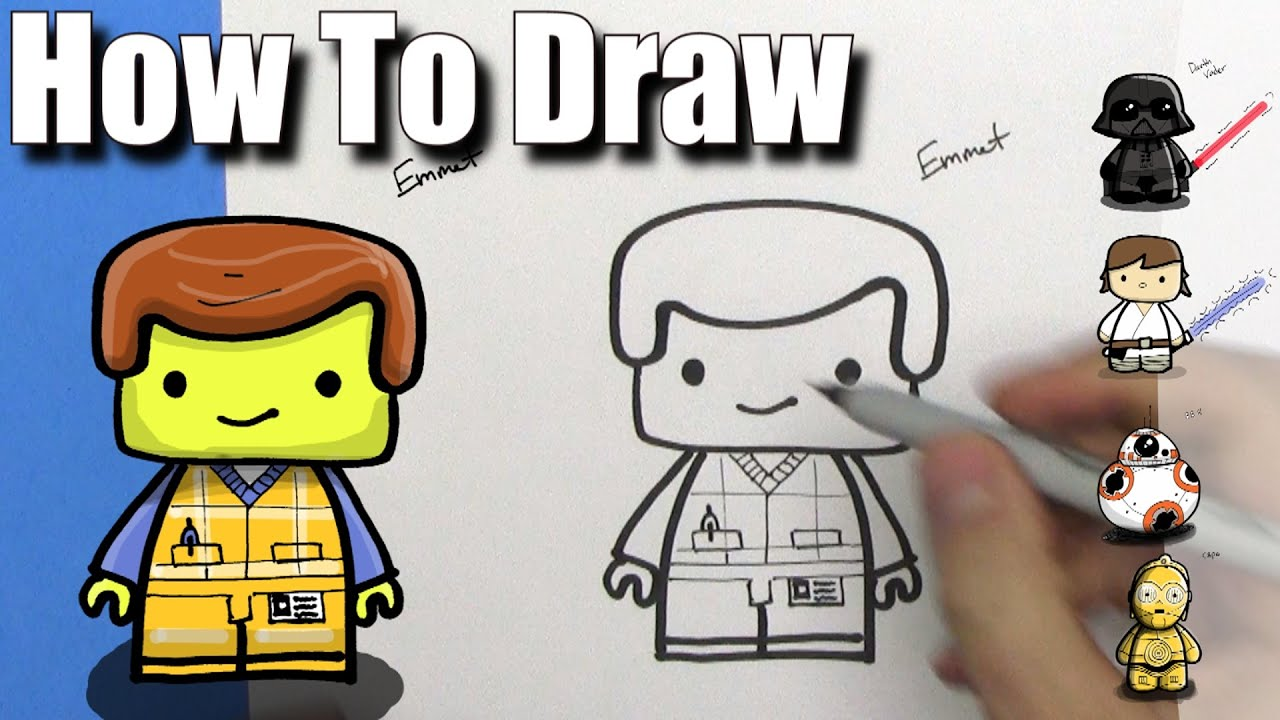 How To Draw A Cute Emmet From The Lego Movie