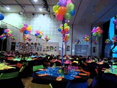 80 39 s themed party set up youtube for 80 s table decoration ideas